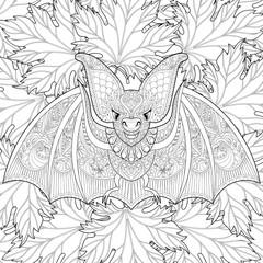 Zentangle stylized flying Bat on autumn leaves background for Ha