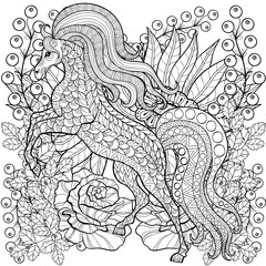 Zentangle stylized Horse on roses, sunflowers. Freehand sketch f