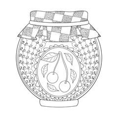 Zentangle stylized jar with cherry jam. Freehand sketch for adul