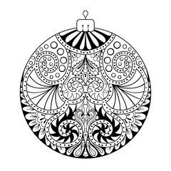 Zentangle stylized New Year, Christmas ball. Freehand artistic e