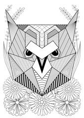 Zentangle stylized owl face on flowers. Hand drawn ethnic animal