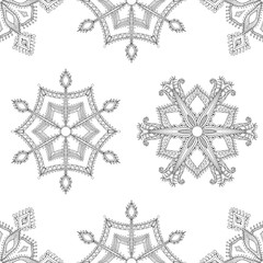 Zentangle winter snowflakes seamless pattern for Christmas, New
