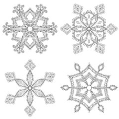 Zentangle winter snowflakes set for Christmas, New Year. Freehan