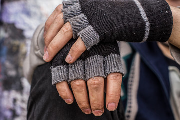Homeless man hands
