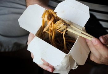 Noodles in take out box