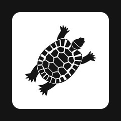 Turtle icon in simple style isolated on white background. Animal symbol