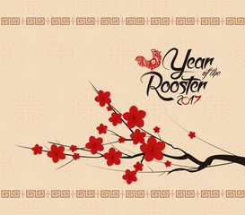 Chinese New Year 2017 Background With Rooster