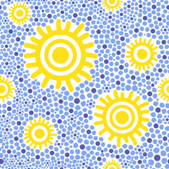 Sun kids pattern vector. Dotted child style yellow circles and blue sky. Sunny design for baby shower card, birthday and party invitation, fabric, wrapping paper and background.