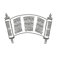 Vintage Roll of antique blank manuscript over white. Ancient scroll of the Law. contour doodle style.