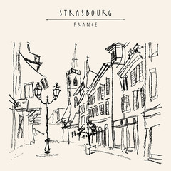 Strasbourg, France, Europe. Pedestrian street in old historic town. French architecture. Hand drawing. Travel sketch. Vintage touristic postcard, poster, calendar or book illustration