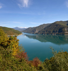 Ananuri lake in autumn season