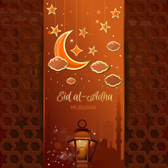 Greeting card with a moon, stars, mosque and arabic lamp. Islamic design for Eid al-Adha - Festival of the Sacrifice, also called the 'Sacrifice Feast' or 'Bakr-Eid'