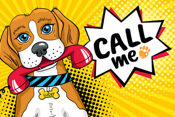Funny pop art dog with big sad eyes holding red telephone receiver in mouth and speech bubble with Call me lettering. Vector bright illustration in retro comic style. Vector pop art background.