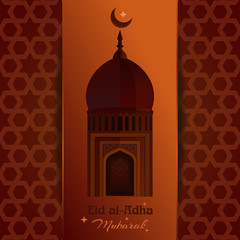 Greeting card with mosque, moon, star and inscription - Eid al-Adha Mubarak. Eid al-Adha - Festival of the Sacrifice. Muslim holiday
