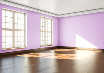 3D rendering of empty interior. Empty room with parquet floors a