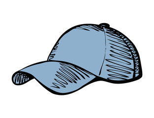 Cap with a visor. Vector drawing