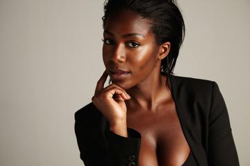 black woman in doubts. emotional portrait of businesswoman