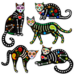 calavera cats set