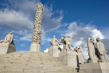 Norway, Oslo. Vigeland park stone sculptures. Travel tourism.