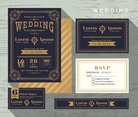 vintage typography wedding invitation frame set Template