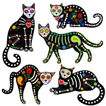 calavera cats set