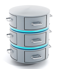 Data server with closed file racks. 3D illustration