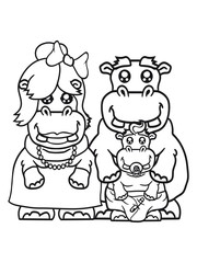happy papa mama family offspring parent baby pacifier little funny sweet cute thick comic cartoon hippo hippopotamus fat