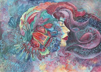 dipinto donna acquerello
