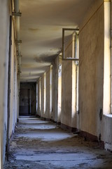 abandoned hallway in an old building
