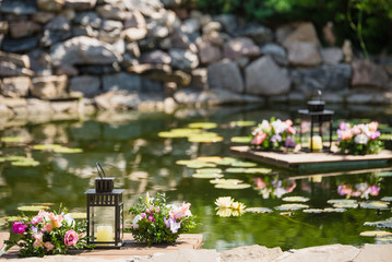 lake with water lilies decorative rafts