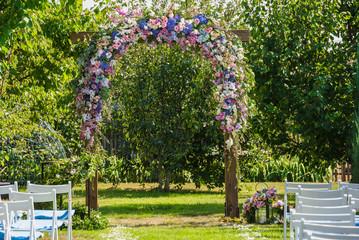 Wedding altar decoration flowers in the garden
