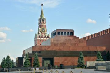 Lenin's mausoleum and Spasskaya tower of the Kremlin.
