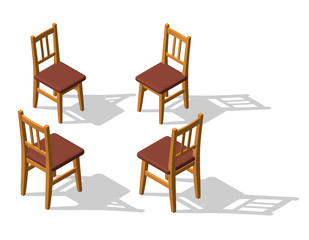 Chair set. 3d Vector illustration. Isometric style.