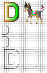 Educational page with alphabet letter D on a square paper. Developing skills for writing and drawing. Vector image.