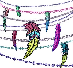 Dream catcher adorned with feathers