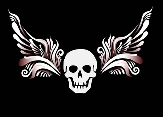 Skull with floral wings
