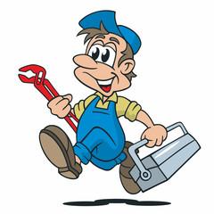 Cartoon Installateur Werkzeugkiste Rohrzange