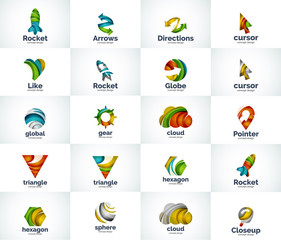 Vector set of abstract unusual internet logos