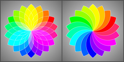 Vector Illustration - Set of 2 Colorful Round Ornament Patterns. Rainbow Flowers. Color Spectrum.