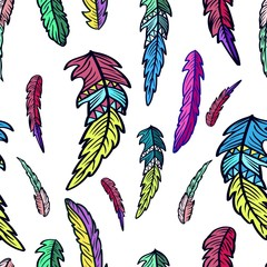 Seamless pattern of Feathers. Vector illustration.
