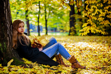 Portrait of a beautiful young girl with long hair in autumn park.