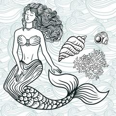 mermaid with curly hair