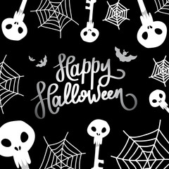 Happy Halloween. The trend calligraphy. Illustration with scull, web and bats