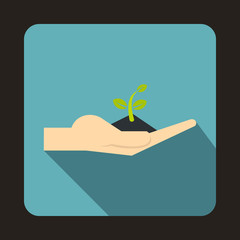 Plant in the hand icon in flat style on a baby blue background vector illustration