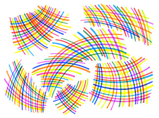 Abstract bright color curved intersecting lines patterns