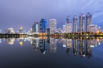Skyline of Bangkok at night from Benjakiti Park, Bangkok, Thaialnd