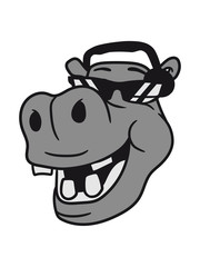 face head party dj music disco headphones sunglasses cool hang mischpult celebrate hippopotamus humor comic cartoon