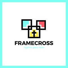 Frame Cross Church Logo. Christian Box Square Logotype.