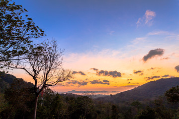 sunrise at Chalong bay see from hilltop