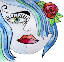 Watercolor abstract girl with red flower in her blue hair